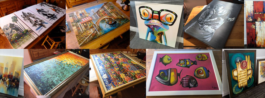 a montage of various stretched canvases