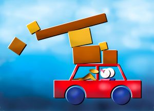 Abstract image of a couple and dog moving in a car with parcels falling off the top.