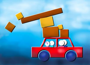 Abstract image of family moving in a car with parcels falling off the top.