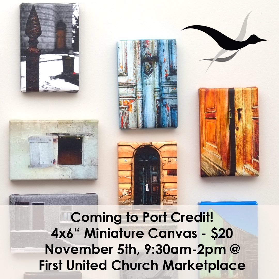 4x6 miniature canvases coming to port credit november 5th 9:30-2 pm at first united church marketplace