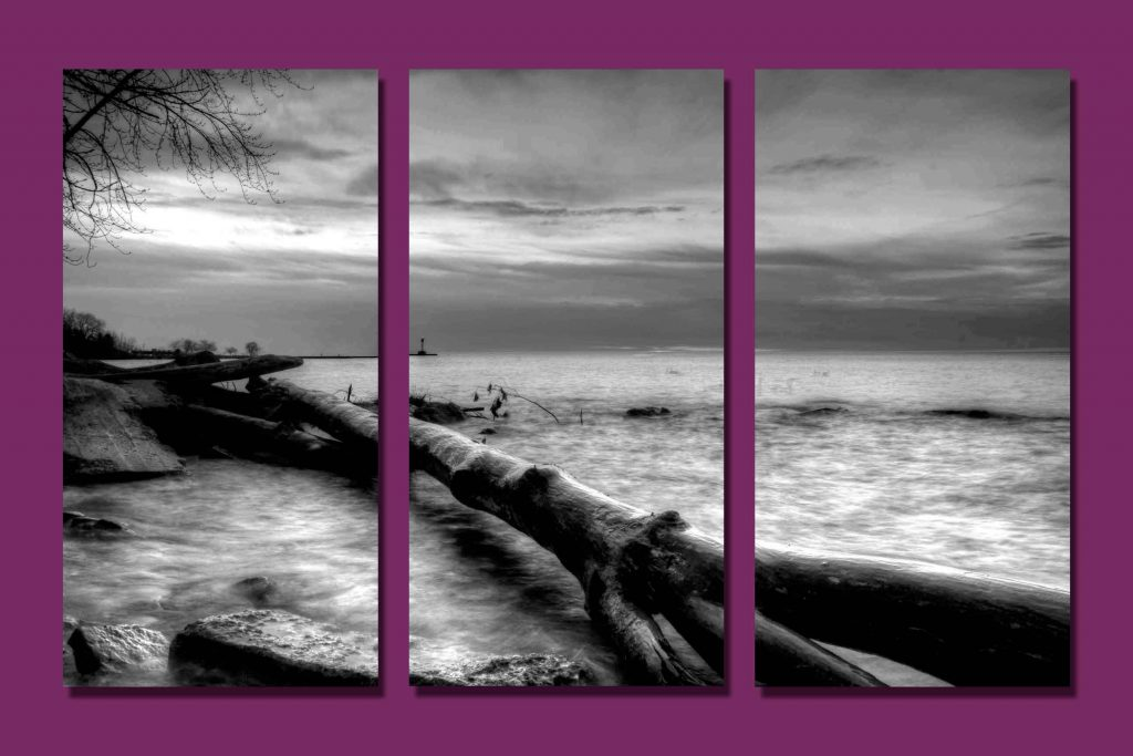 Triptych of a b&w photo of a log at the beach